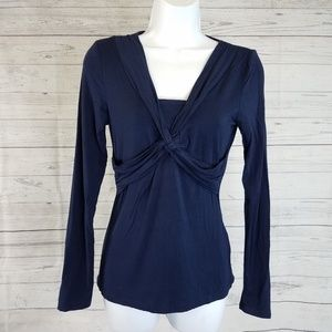 Boden Long Sleeve Twisted Front Sz 4 Blue